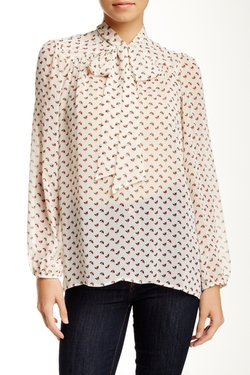 Long Sleeve Tie Neck Woven Blouse by Harlowe & Graham in Pretty Little Liars