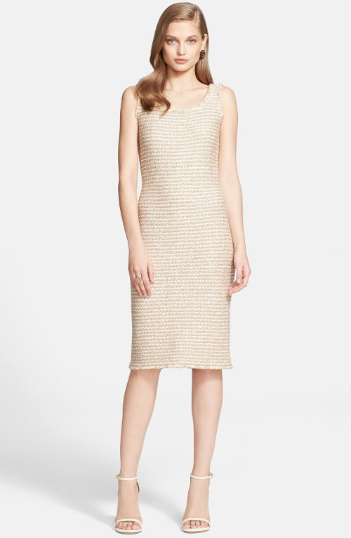 Sparkle Tweed Knit Sheath Dress by St. John Collection in That Awkward Moment