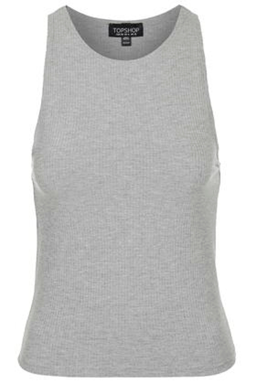 Slim Ribbed Tank Top by Topshop in Dope