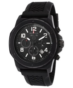 Marine Star Chronograph Black Rubber and Dial Watch by Bulova in Arrow