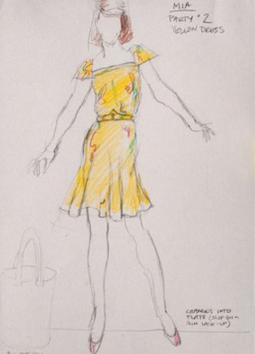 Custom Made Cap Sleeve Floral Dress by Mary Zophres (Costume Designer) in La La Land
