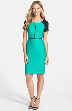 Colorblock Ottoman Knit Sheath Dress by Nue By Shani in Quantico