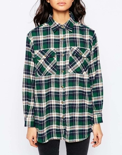 Brushed Check Shirt by Reclaimed Vintage  in Love