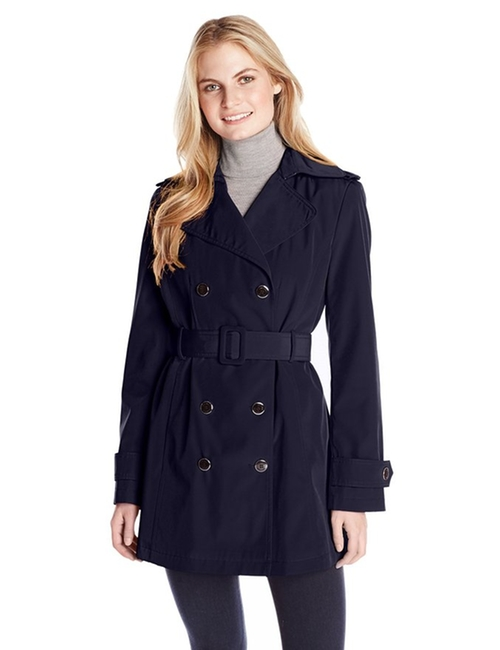 Double-Breasted Trench Coat by Calvin Klein in Cabin in the Woods