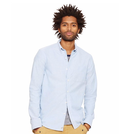 Men's Distressed Oxford Sport Shirt by Denim & Supply Ralph Lauren in Joshy