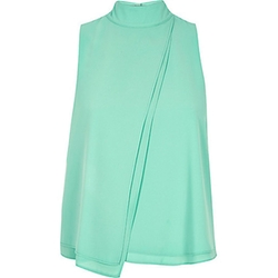Chiffon High Neck Top by River Island in Vinyl