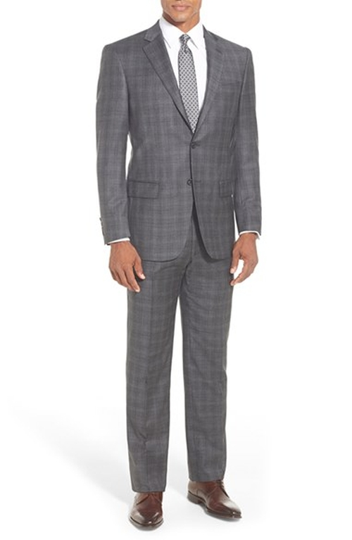 Classic Fit Plaid Wool Suit by Hart Schaffner Marx in The Good Wife
