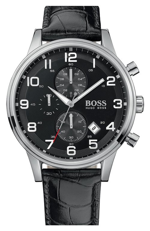 Leather Strap Chronograph Watch by Boss Hugo in That Awkward Moment