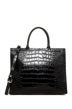 Croco Embossed Leather Tote Bag by Christian Lacroix Paris in Supergirl