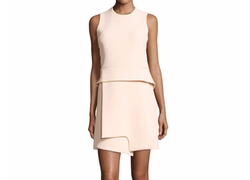 Sleeveless Notched Crepe Peplum Dress by Carven in Quantico