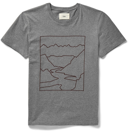 Slim-Fit Mountain-Print Cotton-Jersey T-Shirt  by Folk  in Billions - Season 1 Episode 3