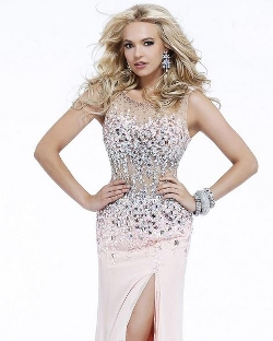 Sleeveless Beaded Bustier Evening Dress by Faviana in Entourage