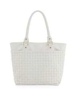Faux-Leather Woven Tote by Neiman Marcus in The DUFF