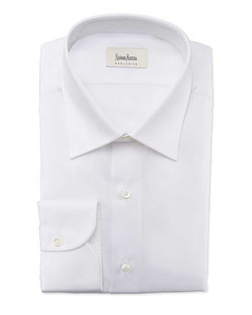 Textured Solid Dress Shirt by Neiman Marcus in Black Mass