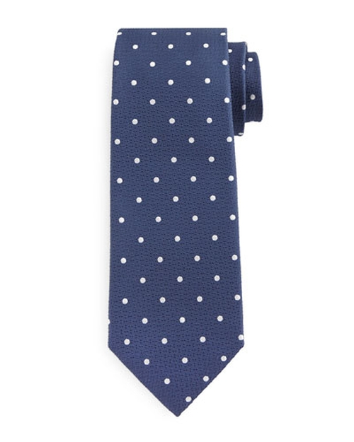 Polka Dot-Print Silk Tie by Tom Ford in Burnt