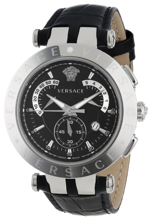 """""""V-Race"""" Stainless Steel Watch With Leather Band by Versace in Ballers - Season 1 Episode 2"""