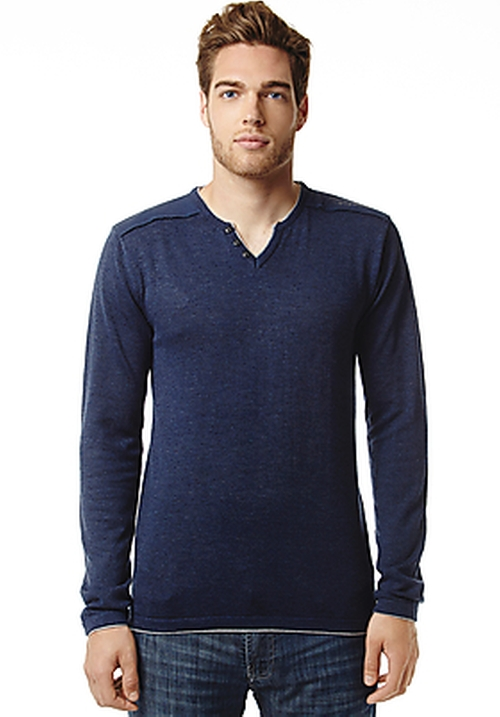 Walleys Long-Sleeve Slit-Neck Shirt by Buffalo David Bitton in Warm Bodies