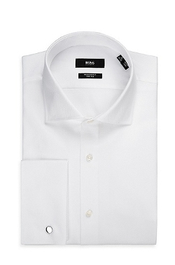 Spread Collar Cotton Dress Shirt by Boss in Self/Less