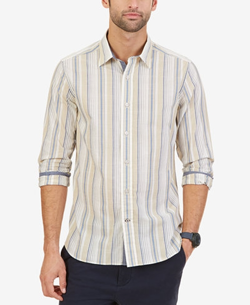 Men's Striped Long-Sleeve Shirt by Nautica in The Wolf of Wall Street