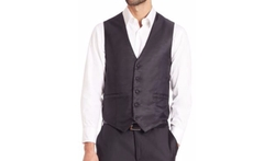 Ribbed Five-Button Vest by Carrot & Gibbs in Jason Bourne