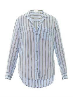 Kiera pyjama-stripe silk shirt by Equipment in Tammy