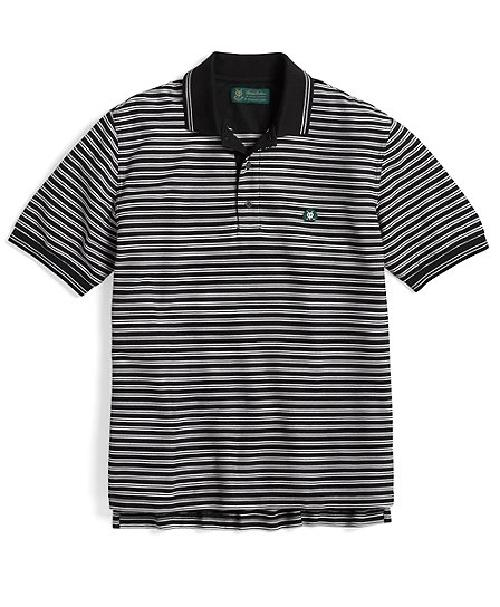 Double Bar Stripe Pique Polo by St Andrews in Million Dollar Arm
