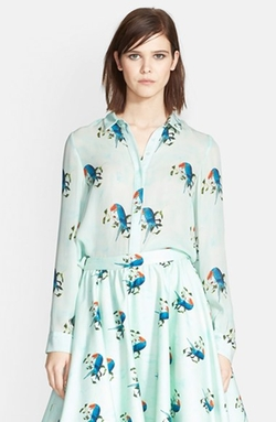 'Willa' Parrot Print Silk Shirt by Alice + Olivia in The Mindy Project