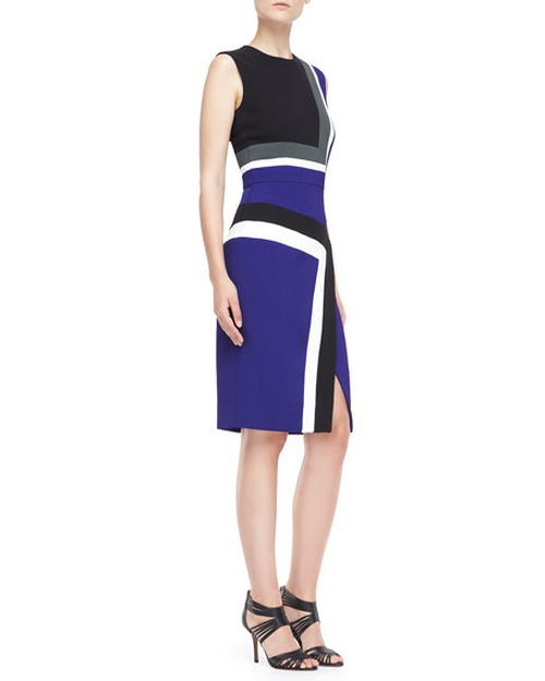 Sleeveless Colorblock Insert Sheath Dress by J. Mendel  in Supergirl - Season 1 Episode 17