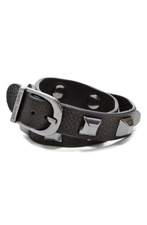 Studded Leather Cuff Bracelet by Hayden-Harnett in Poltergeist