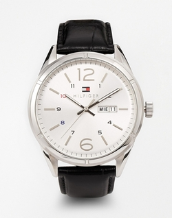 Charlie Black Leather Strap Watch by Tommy Hilfiger in Regression