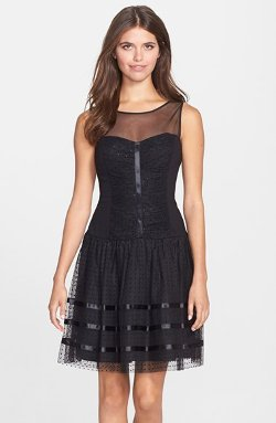 Illusion Yoke Dot Mesh Fit & Flare Dress by Betsey Johnson in Need for Speed