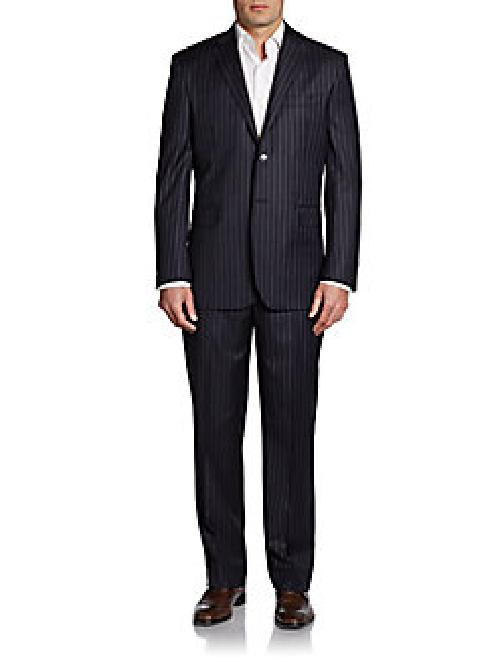 Pinstriped Wool Classic-Fit Suit by Yves Saint Laurent in The Wolf of Wall Street