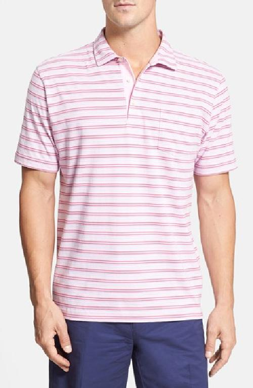 'Fire Stripe' Washed Pima Cotton Polo by Peter Millar in Blended