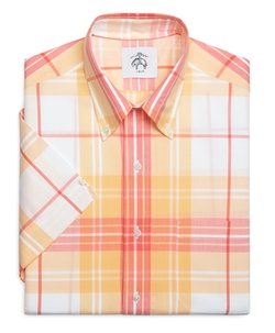 Plaid Short-Sleeve Button-Down Shirt by Brooks Brothers in Ballers