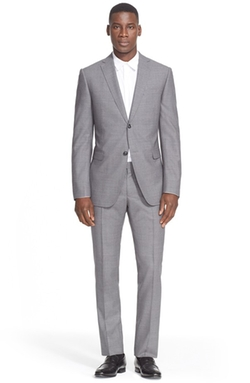 Trim Fit Solid Wool Suit by Z Zegna in Ballers