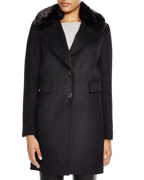Faux Fur Reefer Coat by DKNY in The Good Wife - Season 7 Episode 14