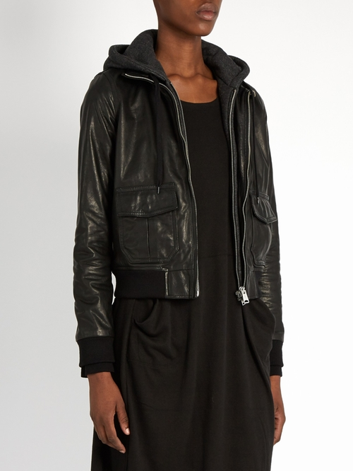"Hooded ""Flight"" Leather Jacket by R13 in Billions - Season 1 Episode 12"