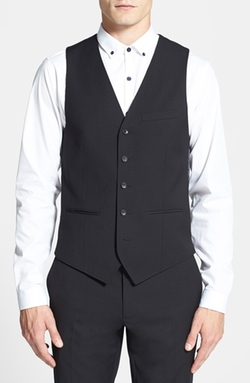 Black Textured Vest by Topman in Elementary