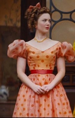 Custom Made Orange Polka Dot Dress (Anastasia) by Sandy Powell (Costume Designer) in Cinderella
