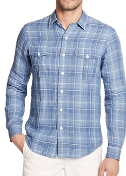 Plaid Linen Workshirt by Polo Ralph Lauren in Sleeping with Other People
