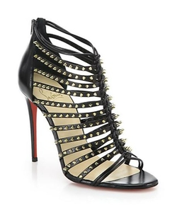 Millaclou Studded Leather Cage Sandals by Christian Louboutin in Empire