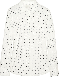 White New Bow Polka Dot Button-Down Shirt by J.Crew in Pitch Perfect 2