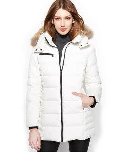 Hooded Faux-Fur-Trim Quilted Down Coat by Marc New York in New Year's Eve