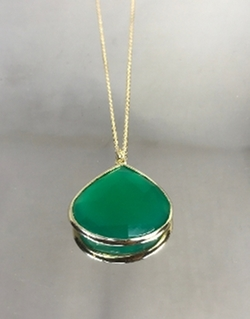 Yellow Gold Green Onyx Necklace by Kyle Chan Design in La La Land