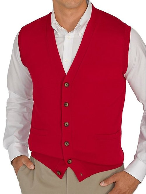 Paul Fredrick Wool Button Front Sweater Vest from Pitch Perfect 2 ...