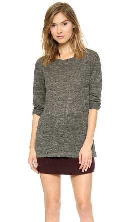 Linen Long Sleeve Crew Neck Tee by T by Alexander Wang in Poltergeist