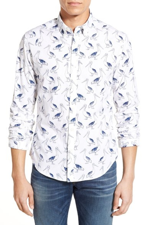 'Pelican Party' Slim Fit Poplin Shirt by Bonobos in New Girl - Season 5 Episode 20