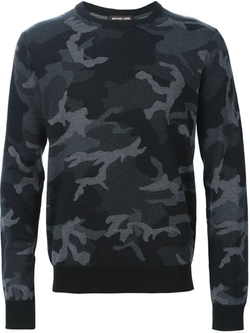 Camouflage Print Sweater by Michael Kors in Black-ish