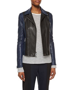 Asymmetric Colorblock Leather Jacket by Vince in Scandal