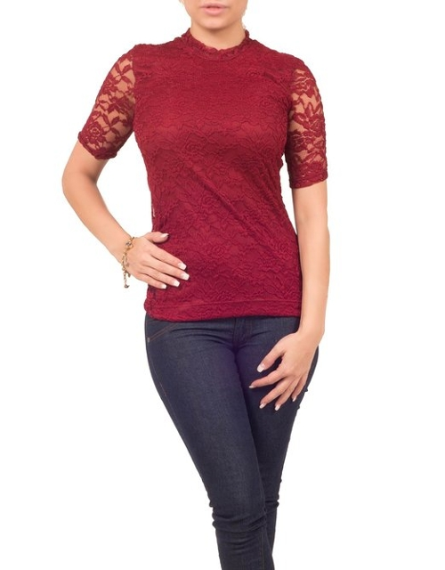 Sheer Lace Knit Victorian Top by Hot From Hollywood in Barely Lethal
